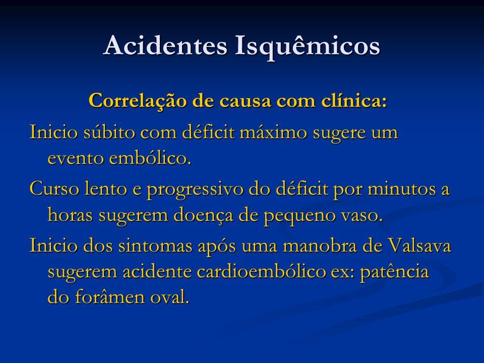 Acidentes Isquêmicos Correlação de causa com clínica: