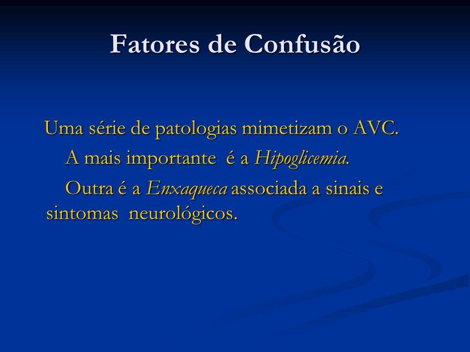Fatores de Confusão Uma série de patologias mimetizam o AVC.