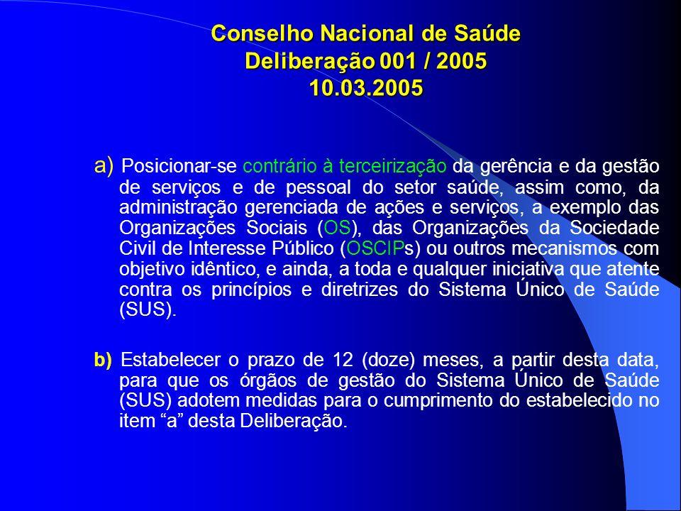 Conselho Nacional de Saúde Deliberação 001 / 2005 10.03.2005