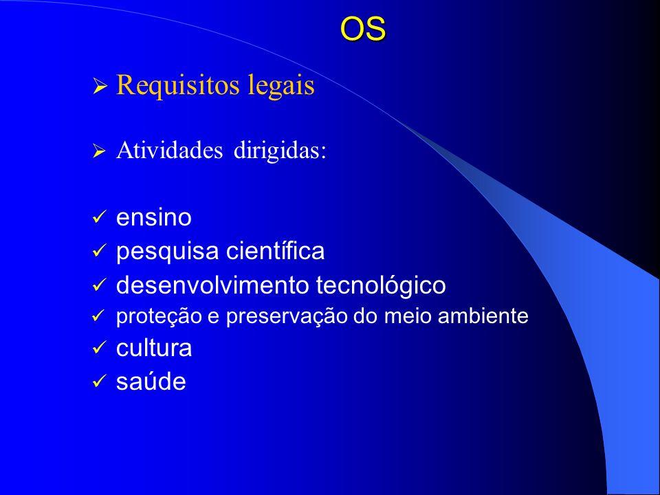 OS Requisitos legais Atividades dirigidas: ensino pesquisa científica