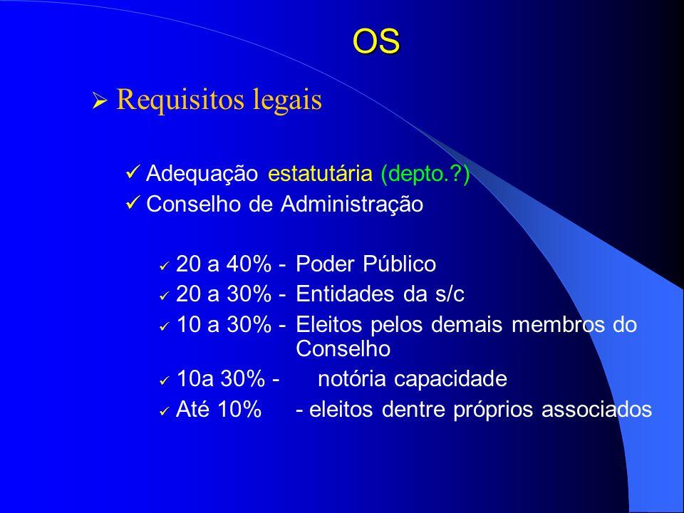 OS Requisitos legais Adequação estatutária (depto. )