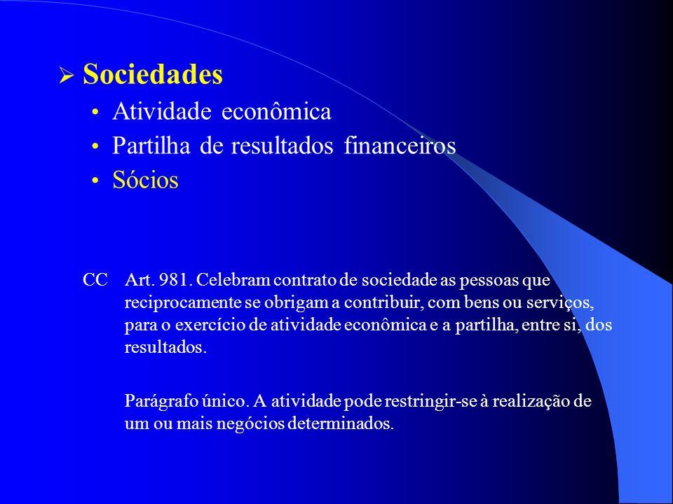 Sociedades Atividade econômica Partilha de resultados financeiros