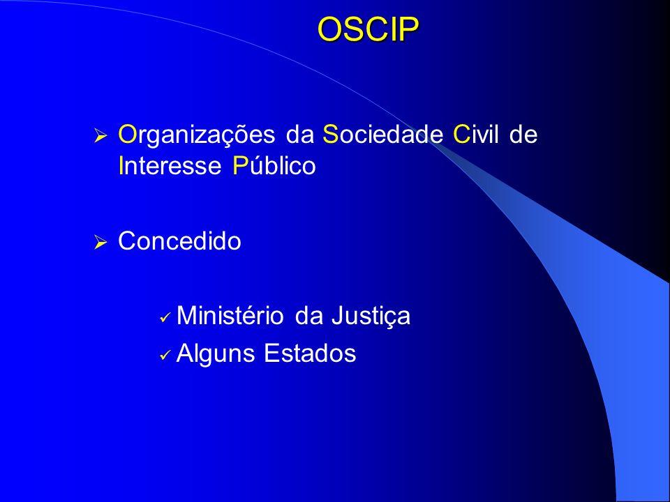 OSCIP Organizações da Sociedade Civil de Interesse Público Concedido