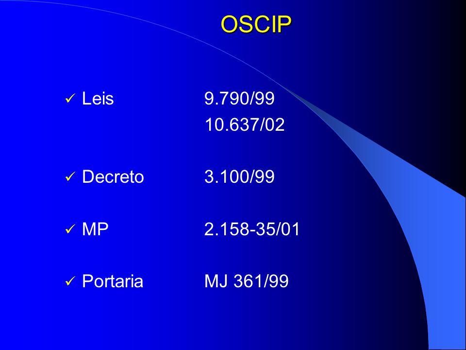 OSCIP Leis 9.790/99 10.637/02 Decreto 3.100/99 MP 2.158-35/01