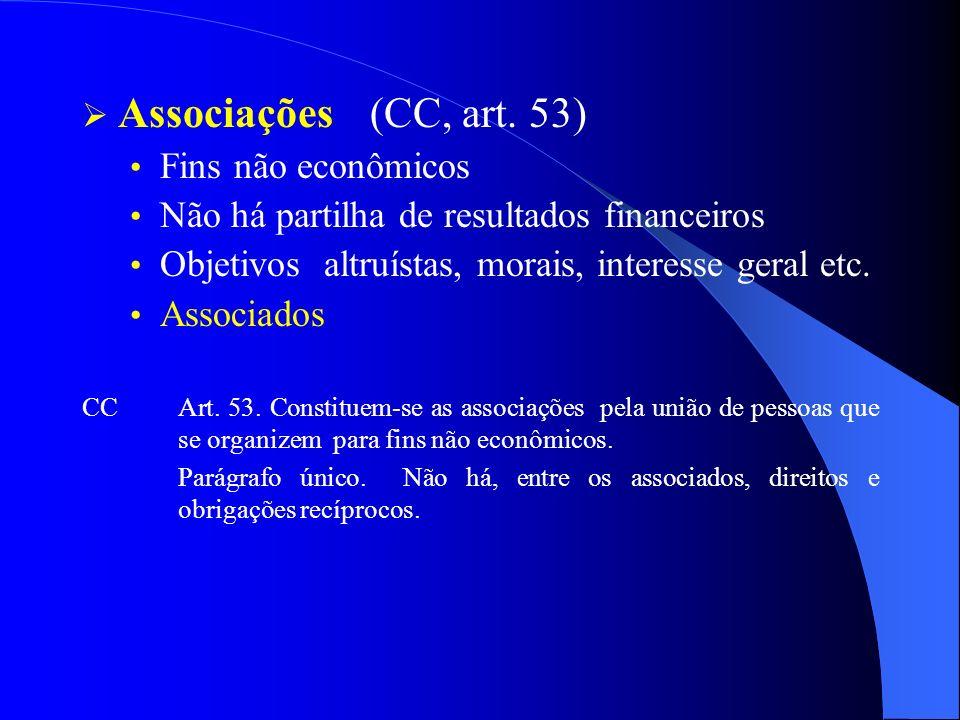 Associações (CC, art. 53) Fins não econômicos