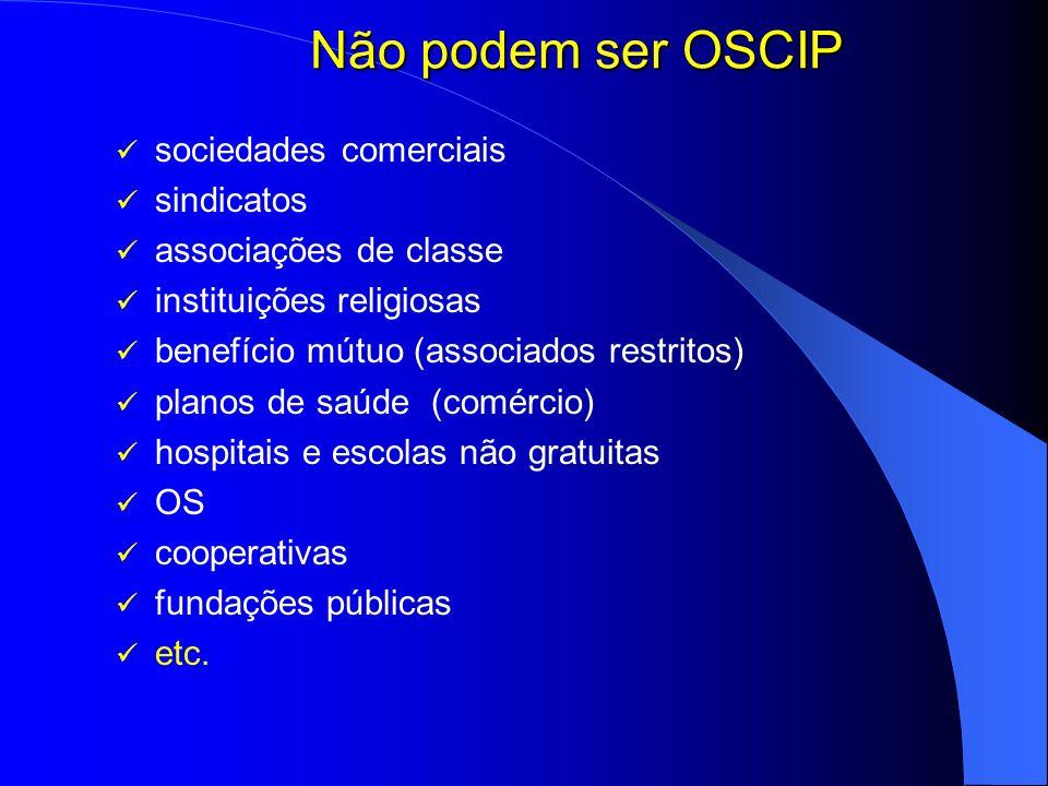 Não podem ser OSCIP sociedades comerciais sindicatos