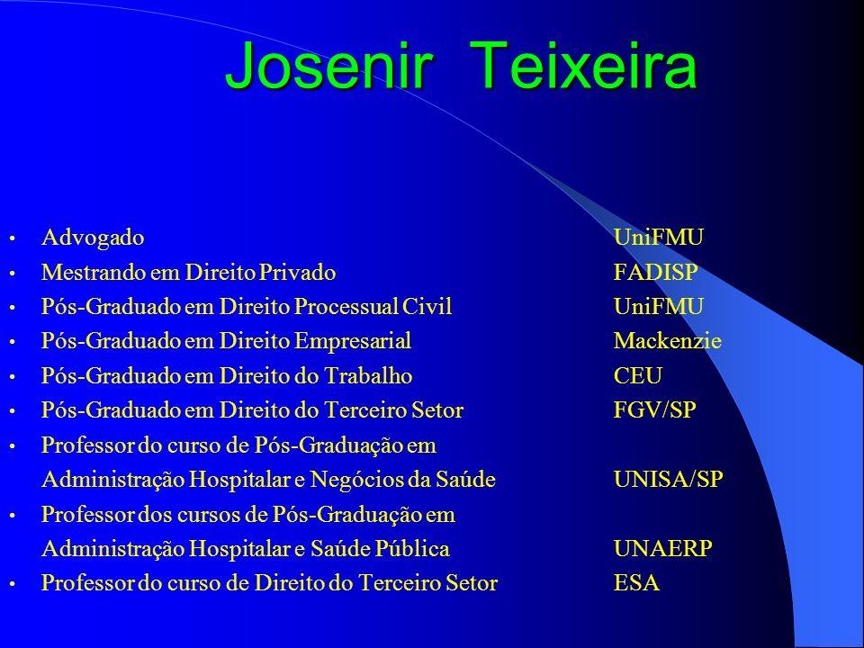 Josenir Teixeira Advogado UniFMU Mestrando em Direito Privado FADISP
