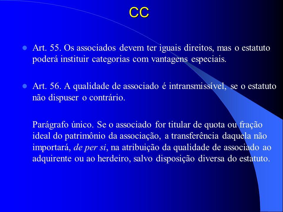 CC Art. 55. Os associados devem ter iguais direitos, mas o estatuto poderá instituir categorias com vantagens especiais.