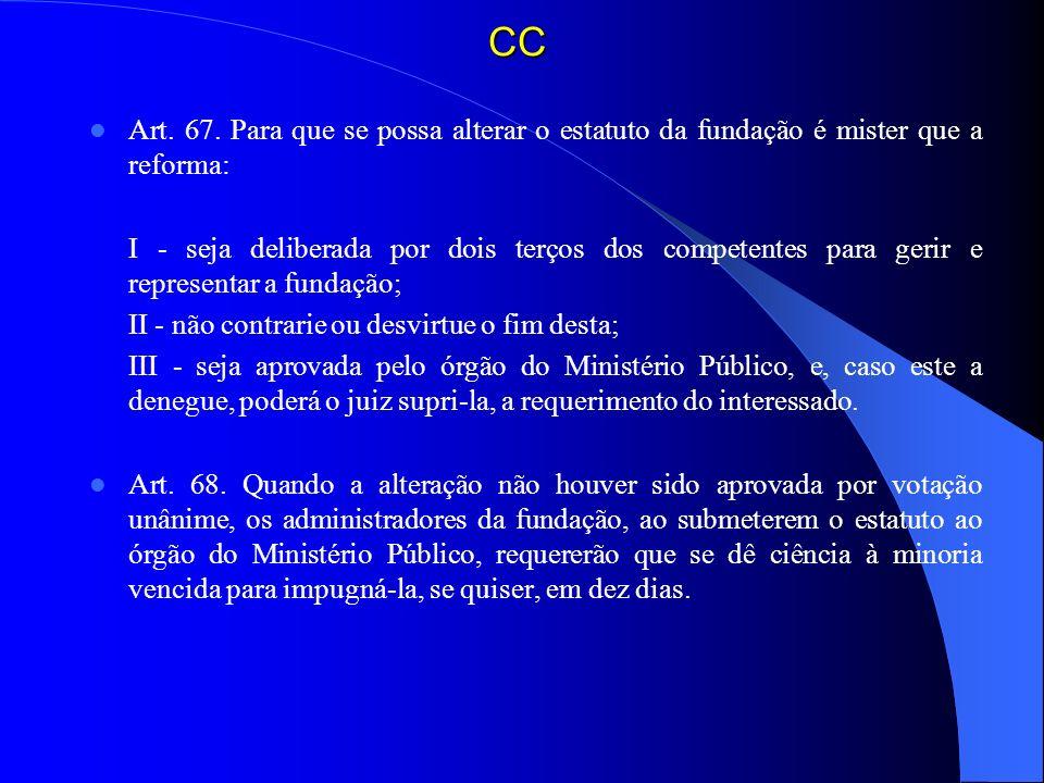 CCArt. 67. Para que se possa alterar o estatuto da fundação é mister que a reforma: