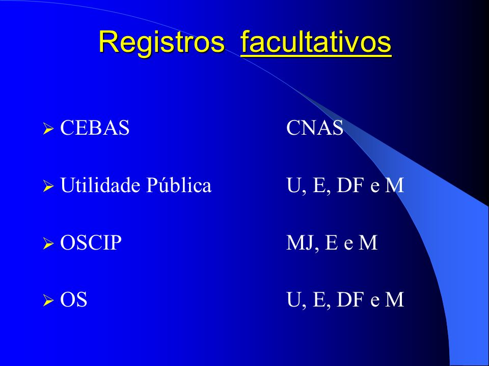 Registros facultativos