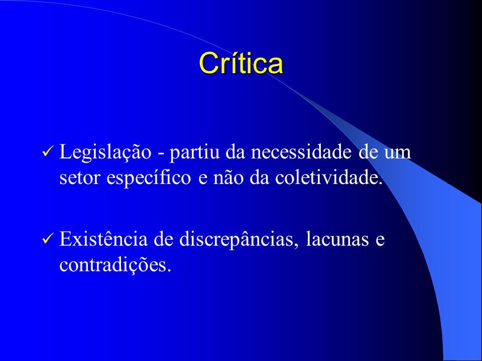 Crítica Legislação - partiu da necessidade de um setor específico e não da coletividade.