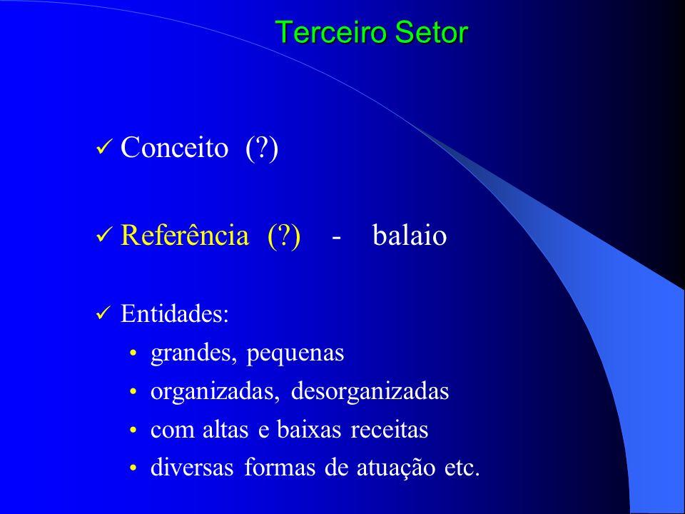 Terceiro Setor Conceito ( ) Referência ( ) - balaio Entidades: