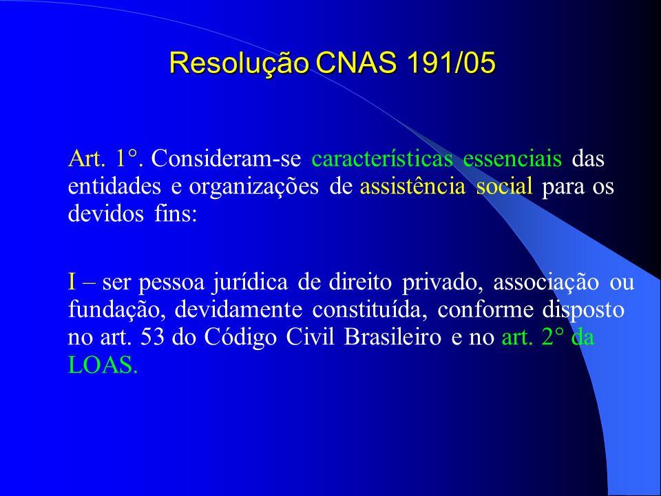 Resolução CNAS 191/05Art. 1°. Consideram-se características essenciais das entidades e organizações de assistência social para os devidos fins: