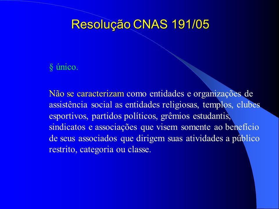 Resolução CNAS 191/05 § único.