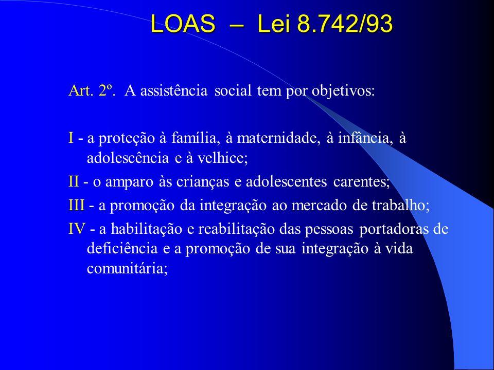 LOAS – Lei 8.742/93 Art. 2º. A assistência social tem por objetivos: