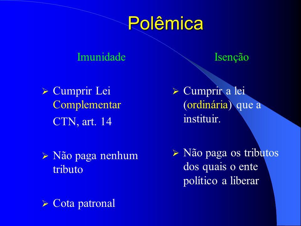 Polêmica Imunidade Cumprir Lei Complementar CTN, art. 14