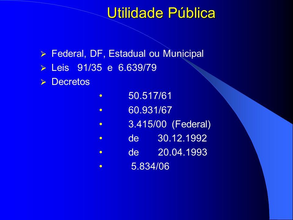 Utilidade Pública Federal, DF, Estadual ou Municipal