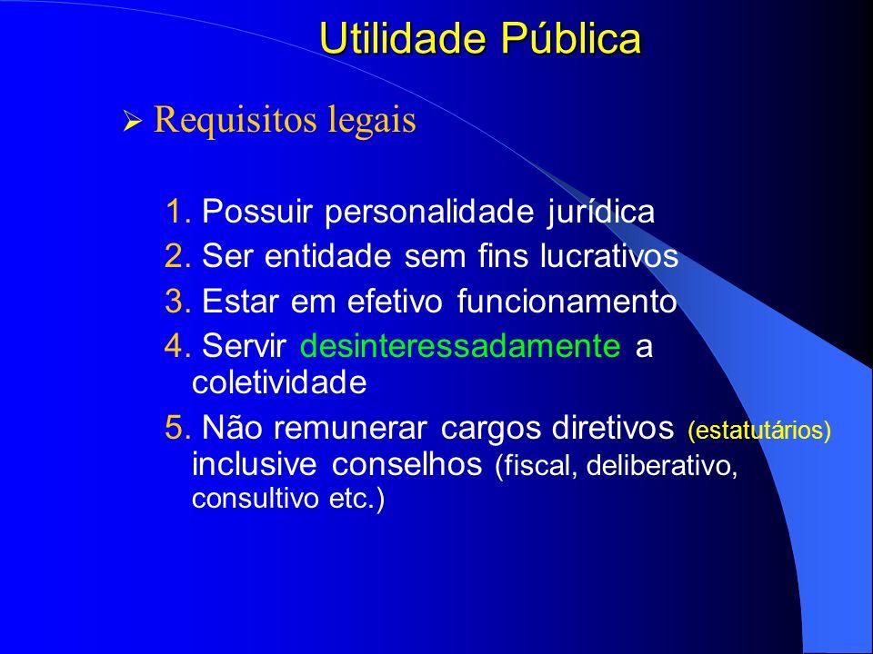 Utilidade Pública Requisitos legais 1. Possuir personalidade jurídica