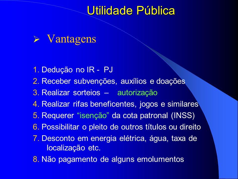 Utilidade Pública Vantagens 1. Dedução no IR - PJ