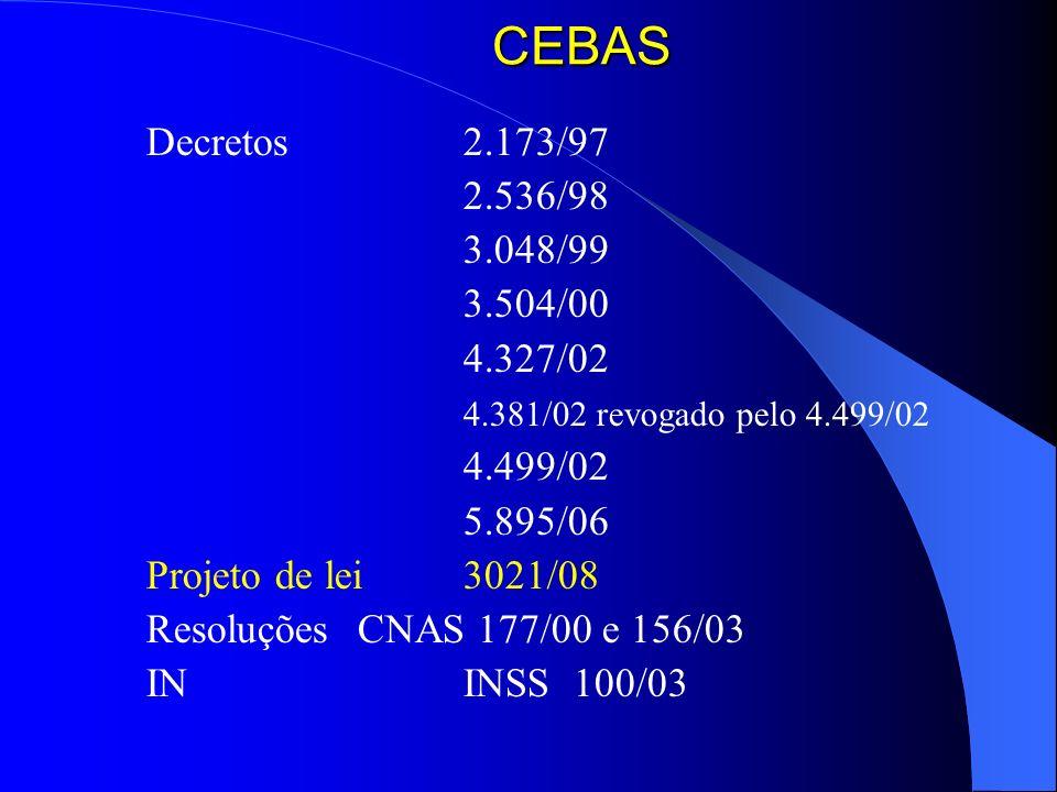 CEBAS Decretos 2.173/97. 2.536/98. 3.048/99. 3.504/00. 4.327/02. 4.381/02 revogado pelo 4.499/02.