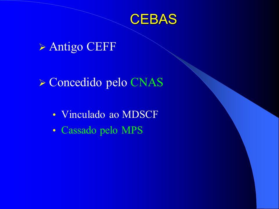 CEBAS Antigo CEFF Concedido pelo CNAS Vinculado ao MDSCF