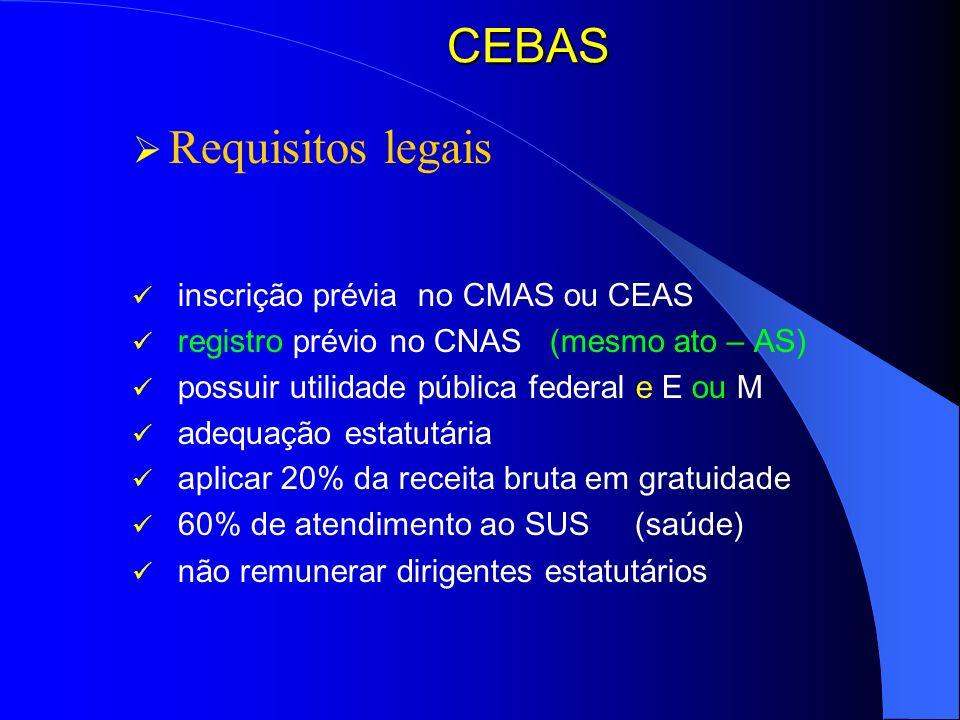 CEBAS Requisitos legais inscrição prévia no CMAS ou CEAS