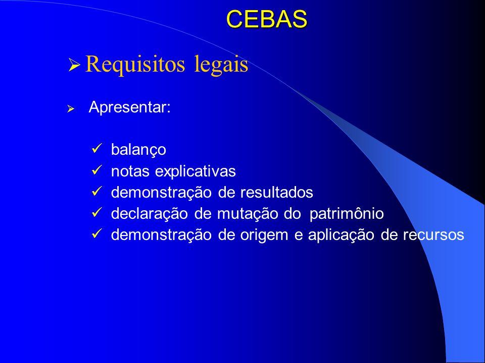 CEBAS Requisitos legais balanço notas explicativas