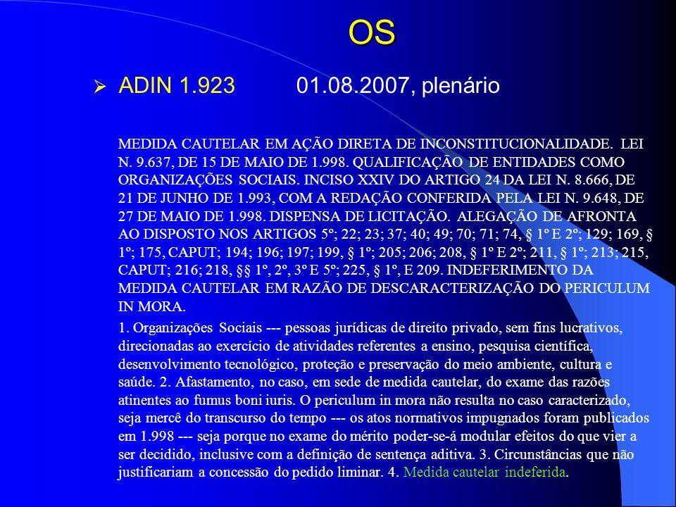 OS ADIN 1.923 01.08.2007, plenário.