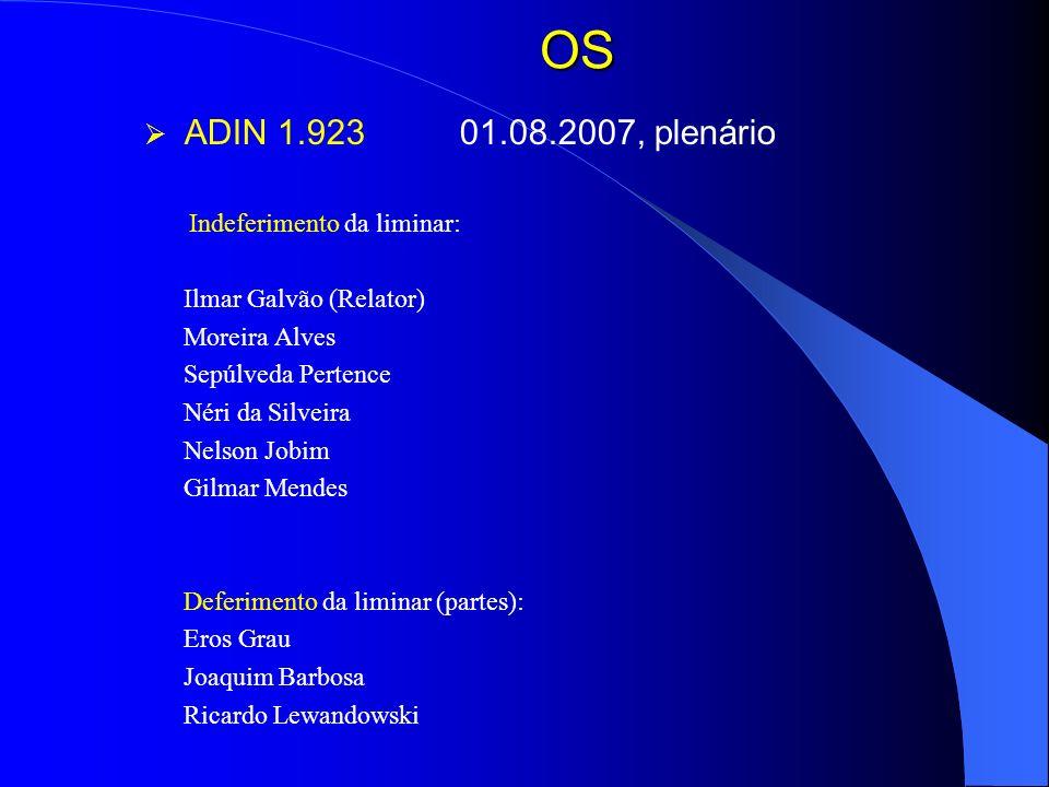 OS ADIN 1.923 01.08.2007, plenário Ilmar Galvão (Relator)