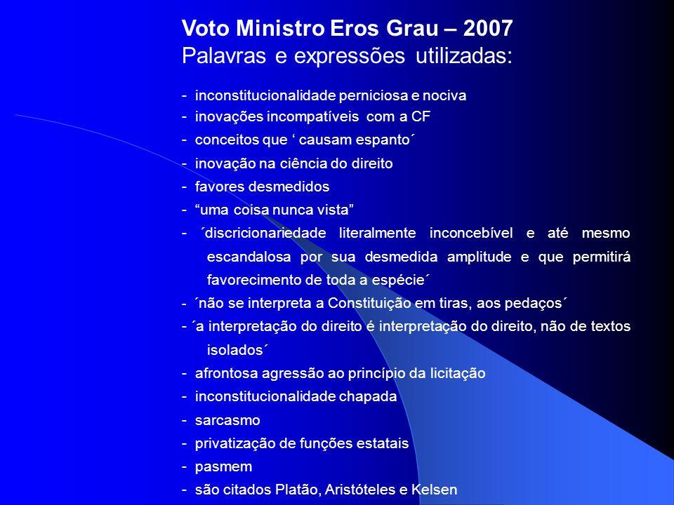 Voto Ministro Eros Grau – 2007 Palavras e expressões utilizadas:
