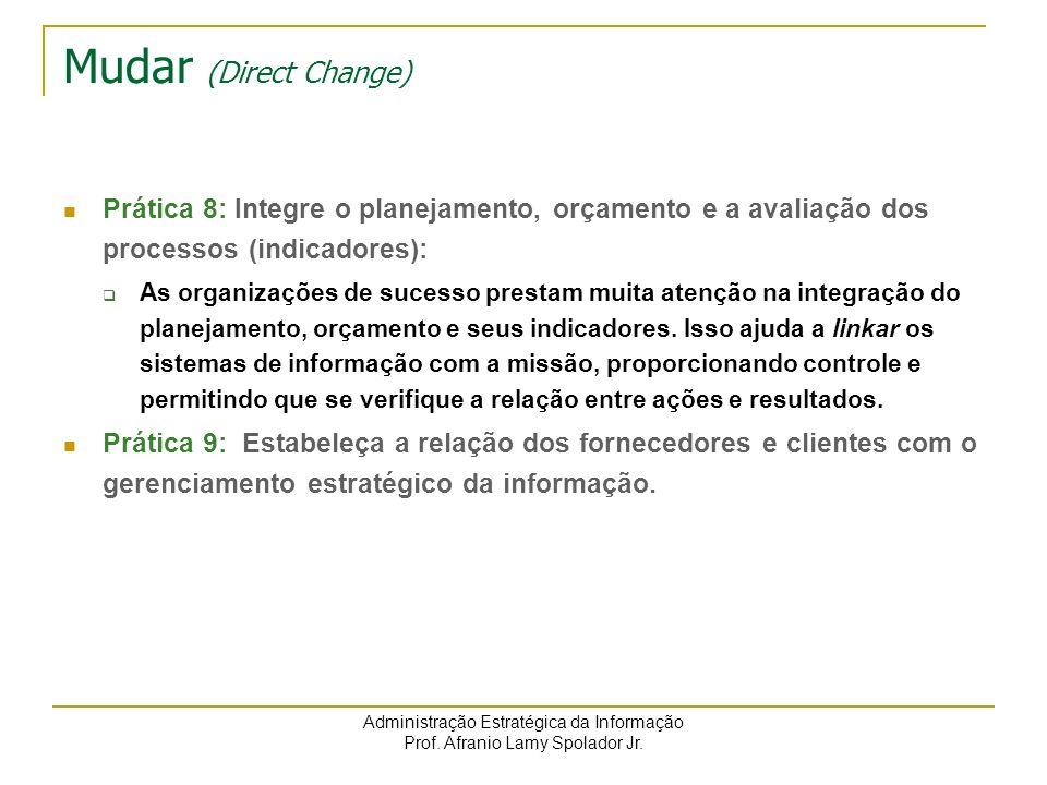 Mudar (Direct Change) Prática 8: Integre o planejamento, orçamento e a avaliação dos processos (indicadores):