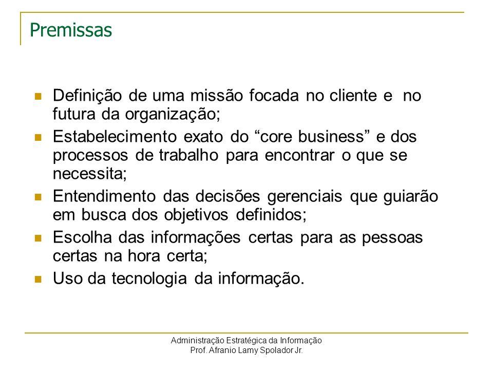 Premissas Definição de uma missão focada no cliente e no futura da organização;