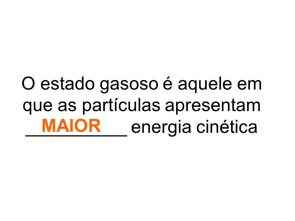 O estado gasoso é aquele em que as partículas apresentam __________ energia cinética