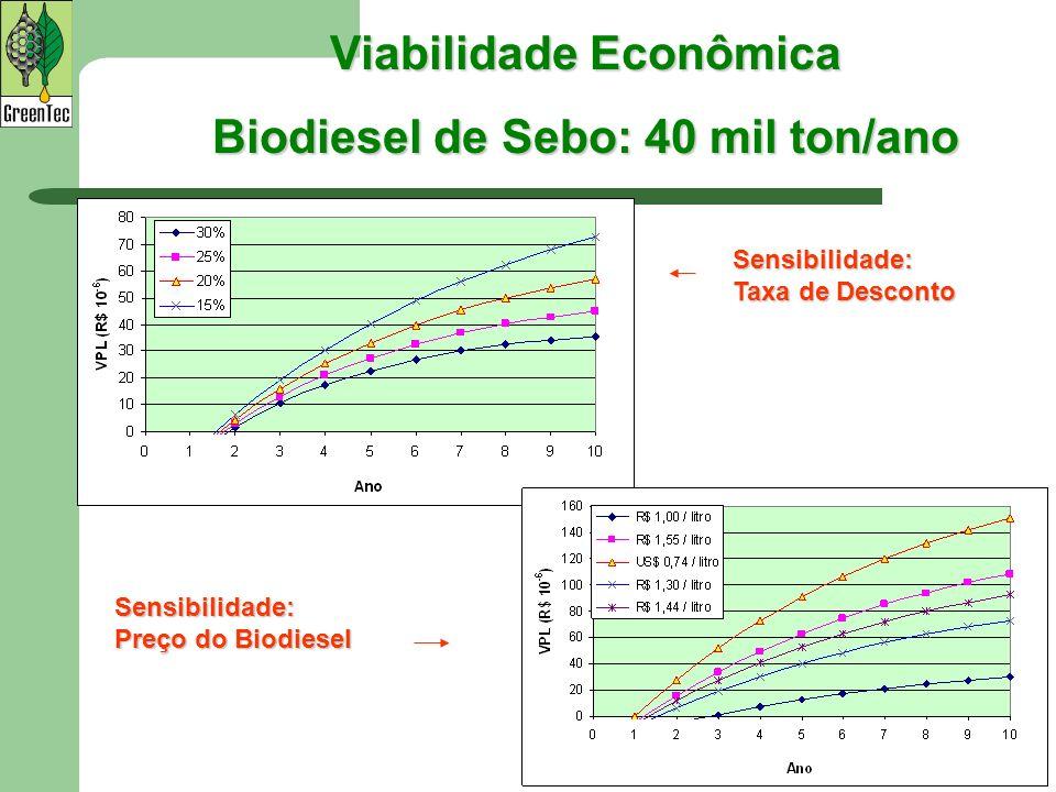Viabilidade Econômica Biodiesel de Sebo: 40 mil ton/ano