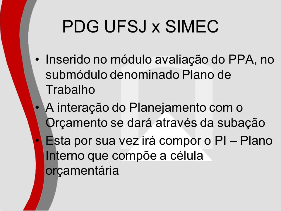PDG UFSJ x SIMEC Inserido no módulo avaliação do PPA, no submódulo denominado Plano de Trabalho.