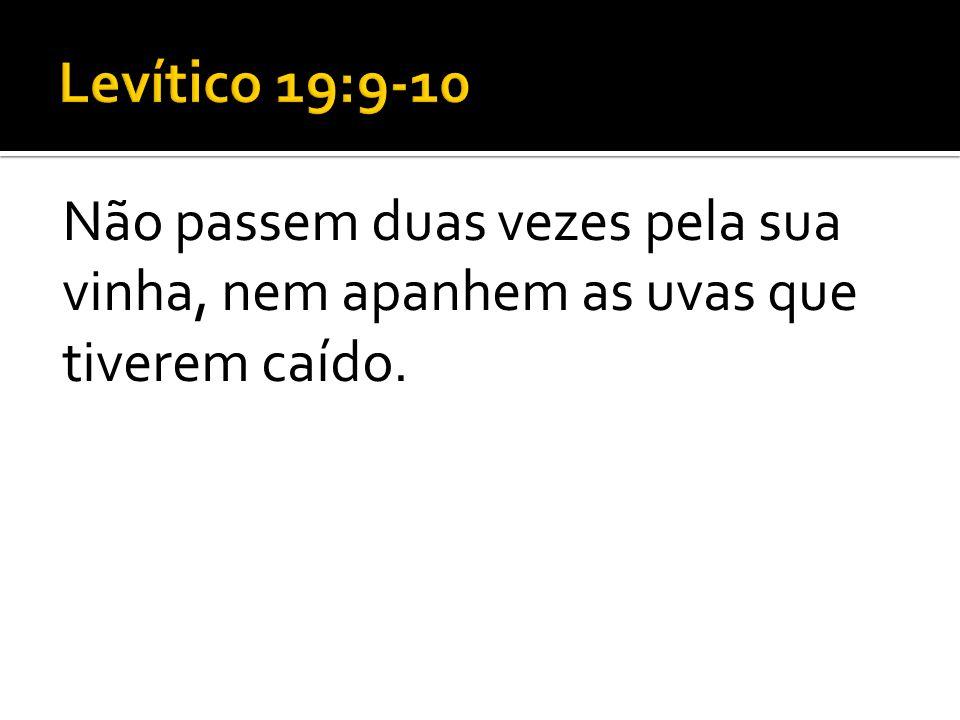 Levítico 19:9-10 Não passem duas vezes pela sua vinha, nem apanhem as uvas que tiverem caído.