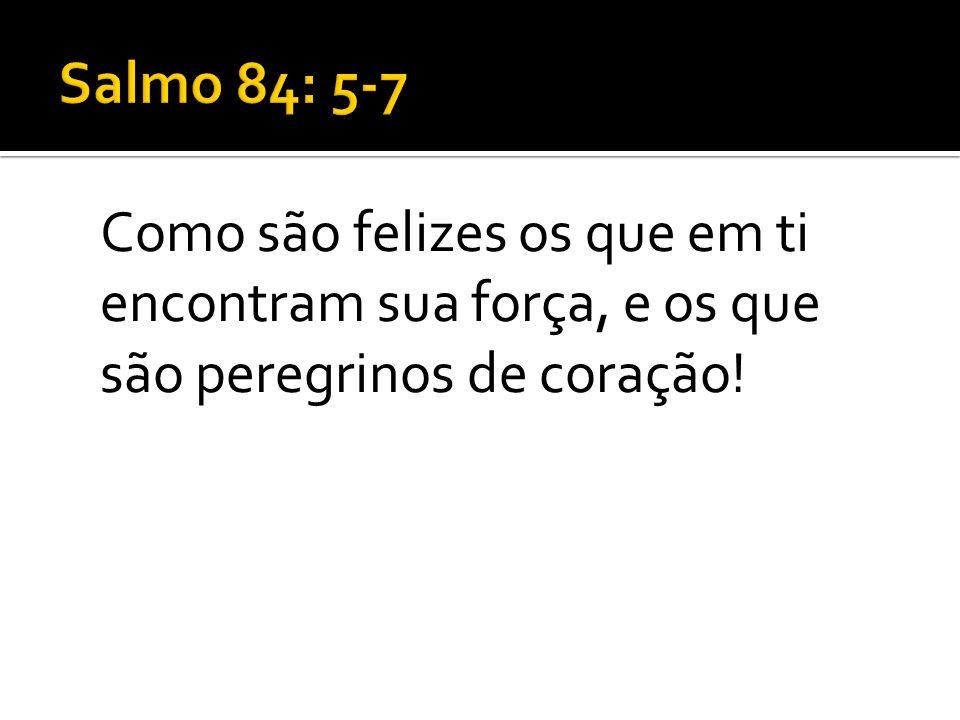 Salmo 84: 5-7Como são felizes os que em ti encontram sua força, e os que são peregrinos de coração!