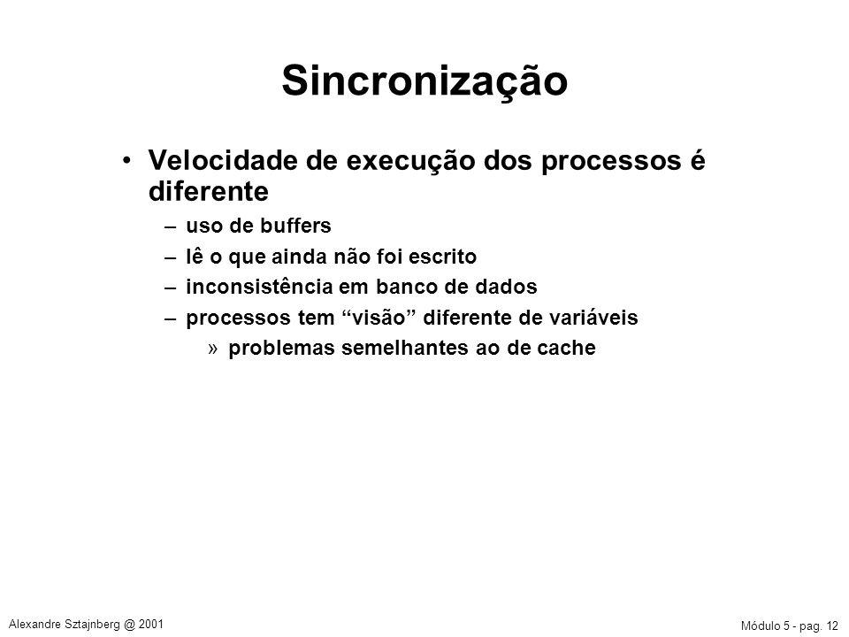 Sincronização Velocidade de execução dos processos é diferente