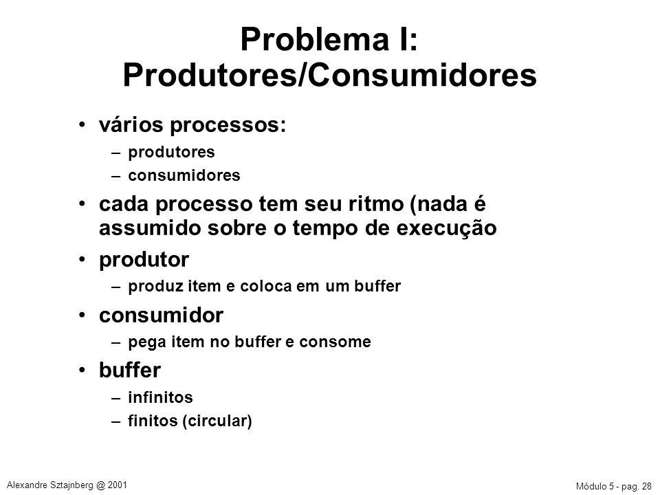 Problema I: Produtores/Consumidores
