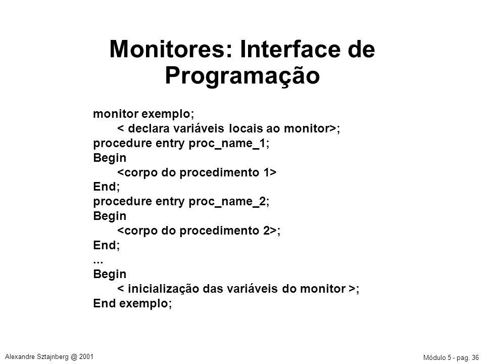 Monitores: Interface de Programação