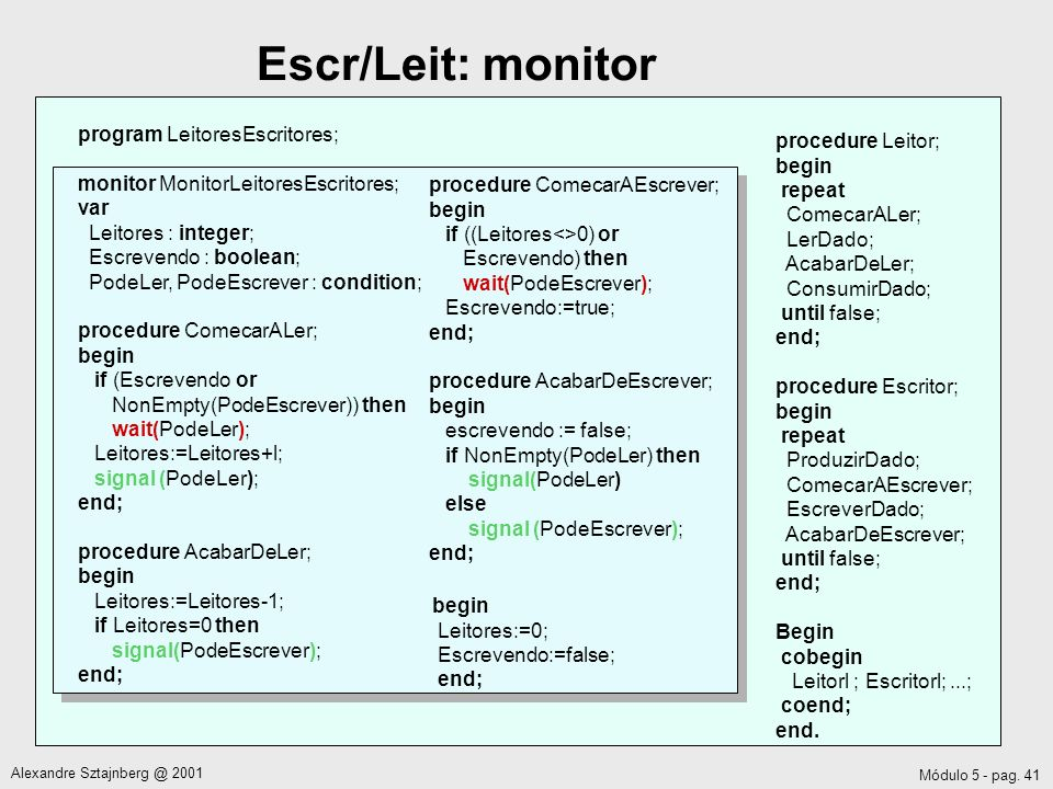 Escr/Leit: monitor program LeitoresEscritores; procedure Leitor; begin
