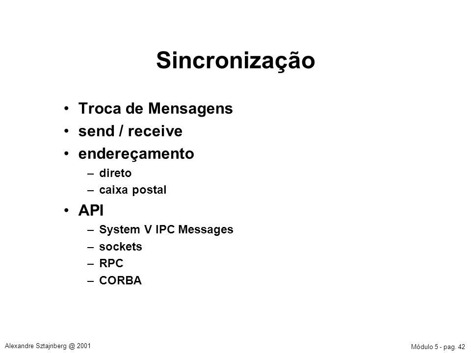 Sincronização Troca de Mensagens send / receive endereçamento API