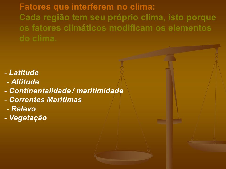 Fatores que interferem no clima: