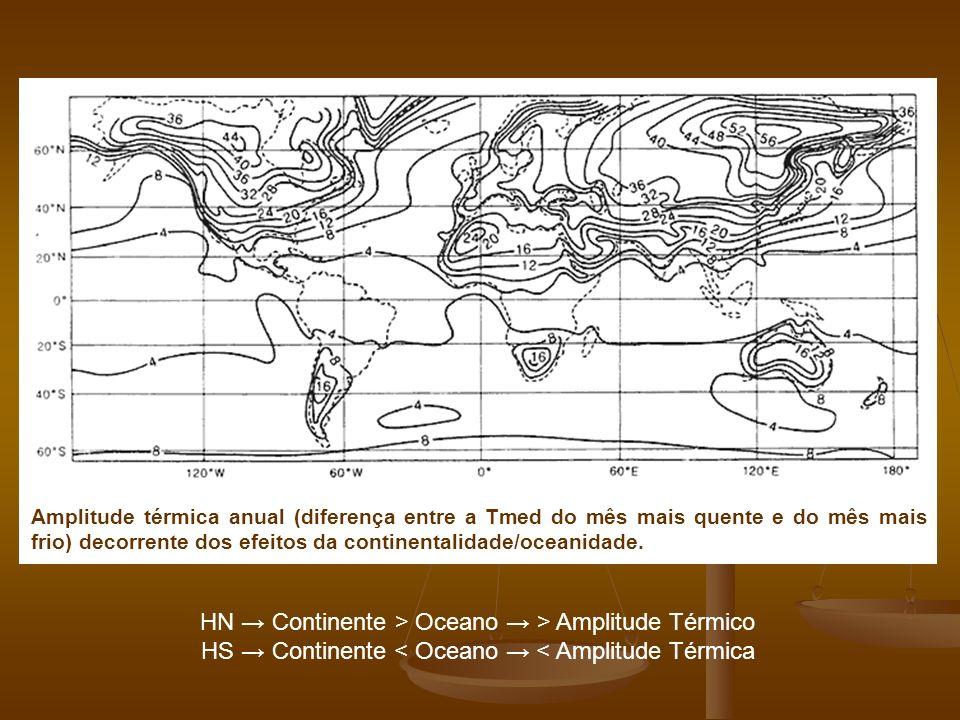 Amplitude térmica anual (diferença entre a Tmed do mês mais quente e do mês mais frio) decorrente dos efeitos da continentalidade/oceanidade.