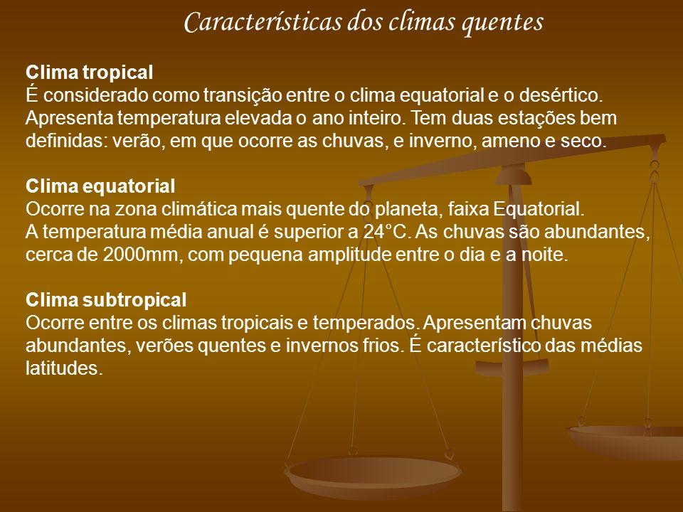 Características dos climas quentes