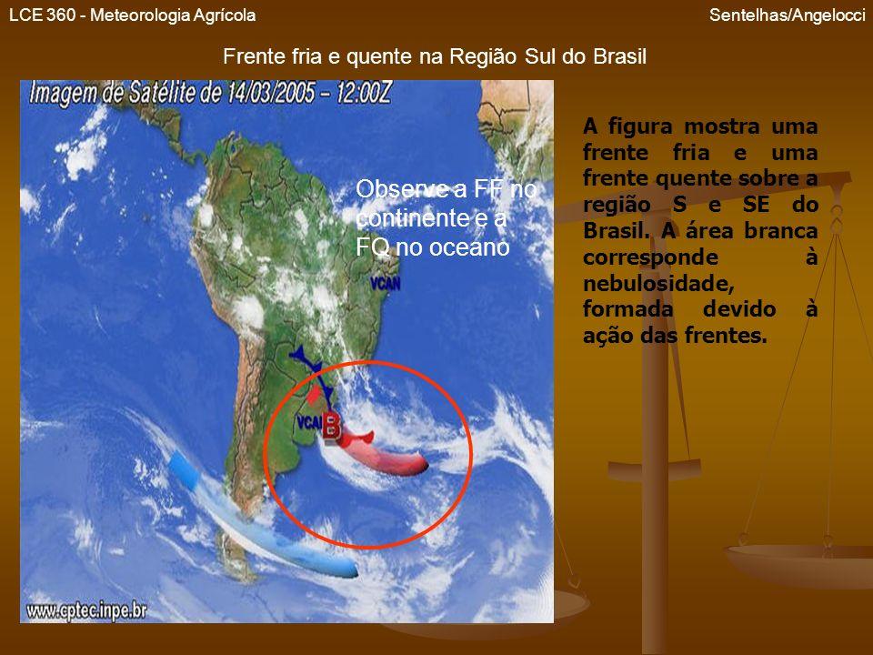 Frente fria e quente na Região Sul do Brasil