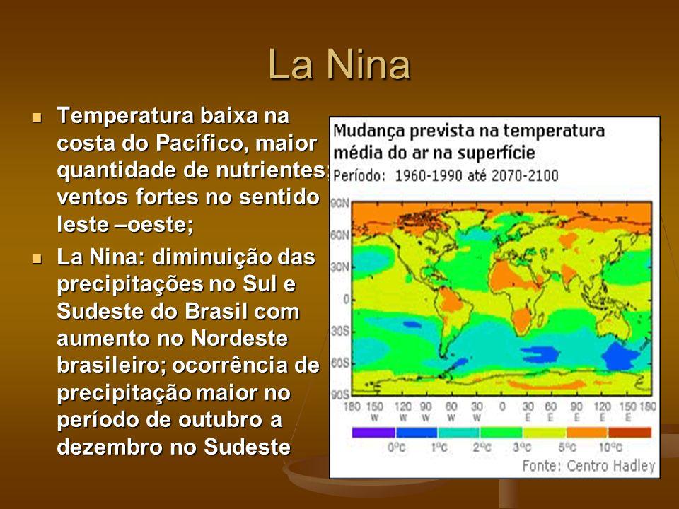 La NinaTemperatura baixa na costa do Pacífico, maior quantidade de nutrientes; ventos fortes no sentido leste –oeste;