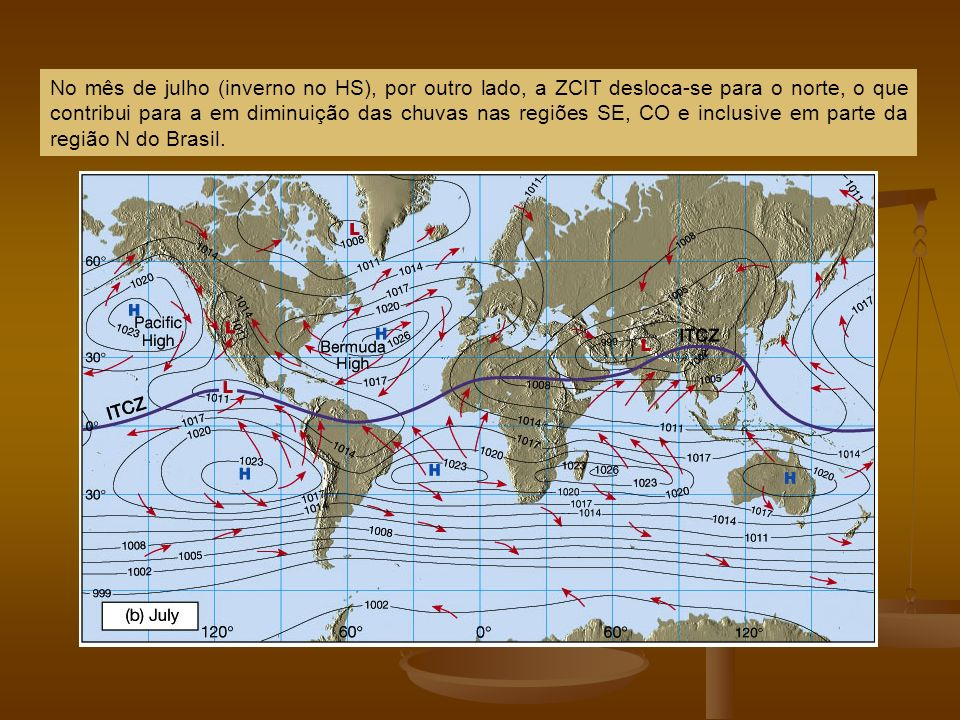 No mês de julho (inverno no HS), por outro lado, a ZCIT desloca-se para o norte, o que contribui para a em diminuição das chuvas nas regiões SE, CO e inclusive em parte da região N do Brasil.