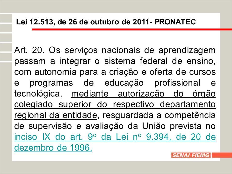 Lei 12.513, de 26 de outubro de 2011- PRONATEC