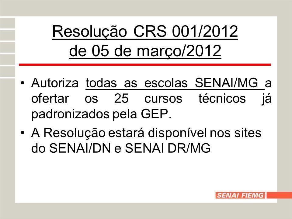 Resolução CRS 001/2012 de 05 de março/2012